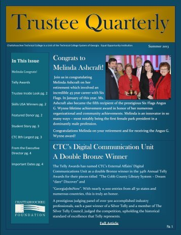 Trustee Newsletter Summer 2013 - Chattahoochee Technical College