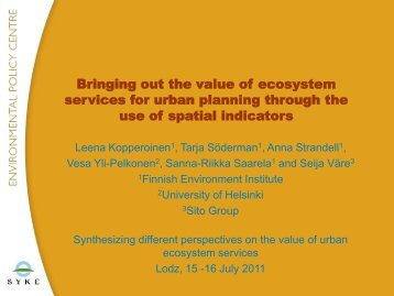 Bringing out the value of ecosystem services for urban planning ...