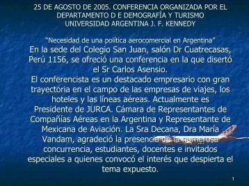 Presentación del Sr. Carlos Asensio - Universidad Argentina John F ...