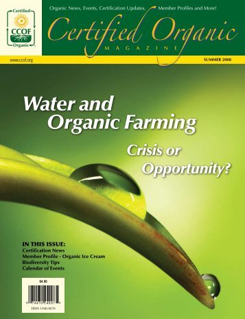 Water and Organic Farming – Crisis or Opportunity? - CCOF