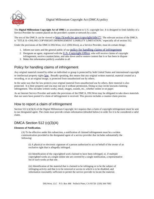 Dslwest Digital Millennium Copyright Act Dmca Policy