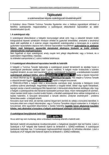 Tájékoztató - Kodolányi János Főiskola