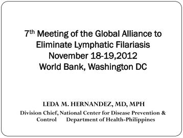 Philippines - Global Alliance to Eliminate Lymphatic Filariasis