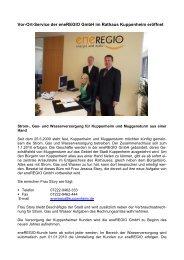 Vor-Ort-Service der eneregio Gmbh im Rathaus Kuppenheim ...