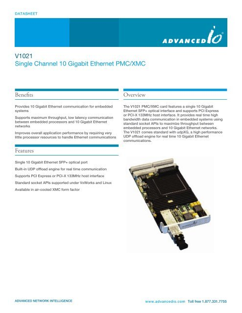 V1021 Single Channel 10 Gigabit Ethernet PMC/XMC - AdvancedIO