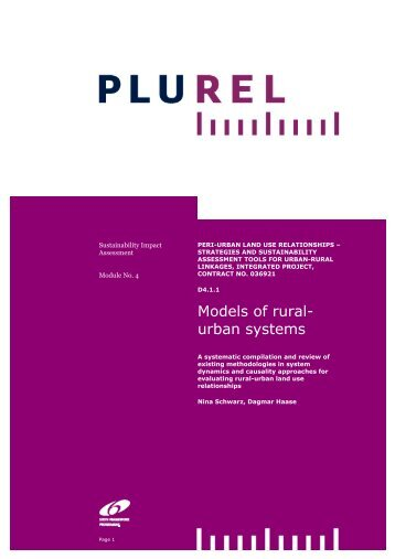 Models of rural- urban systems - Plurel
