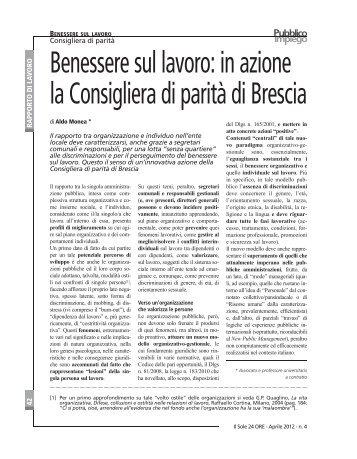 Benessere sul lavoro: in azione la Consigliera di parità di Brescia