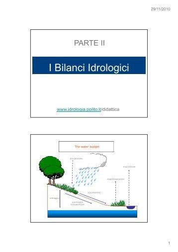 I Bilanci Idrologici - idrologia@polito
