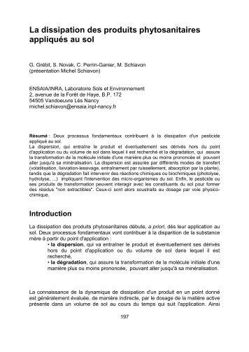 La dissipation des produits phytosanitaires ... - SympoScience