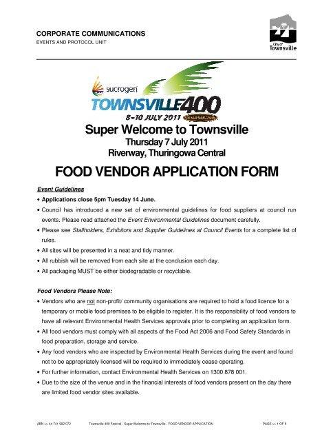 FOOD VENDOR APPLICATION FORM - Townsville City Council