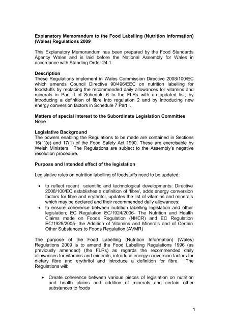 Explanatory Memorandum To The Food Labelling Nutrition
