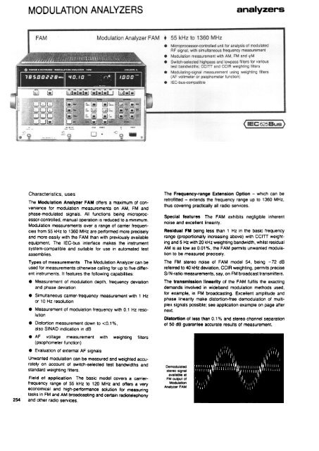MODULATION ANALYZERS - Helmut Singer Elektronik