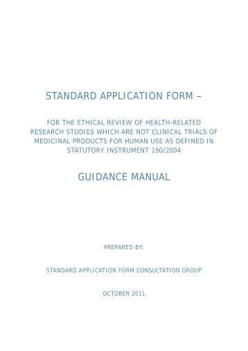 STANDARD APPLICATION FORM – - Molecular Medicine Ireland