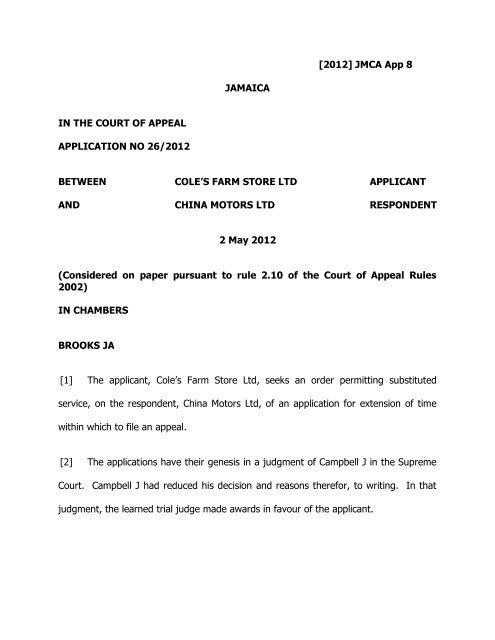Cole S Farm Store Ltd V China Motors Ltd Pdf The Court Of Appeal