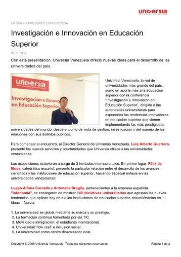Investigación e Innovación en Educación Superior - Noticias ...