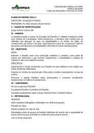 PLANO DE ENSINO 2012-1 DISCIPLINA: Introdução à Filosofia ...