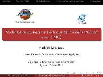 Modélisation du système électrique de l'île de la Réunion avec TIMES