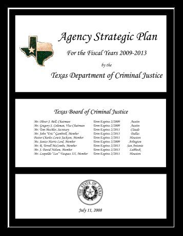 Agency Strategic Plan for the Fiscal Years 2009-2013 - Texas ...