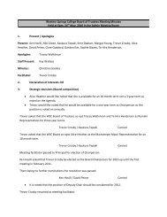 Western Springs College Board of Trustees Meeting Minutes Held at ...