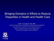 Bridging Domains in Efforts to Reduce Disparities in Health and ...