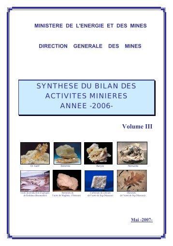 Volume III - Ministère de l'énergie et des mines