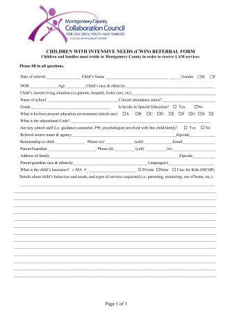 The Children with Intensive Needs Referral form - Montgomery ...