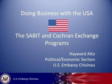 Mr. Hayward Alto - The SABIT and Cohran Exchange Program