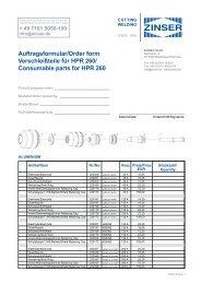 Consumable parts for HPR 260 - Zinser Schweisstechnik GmbH