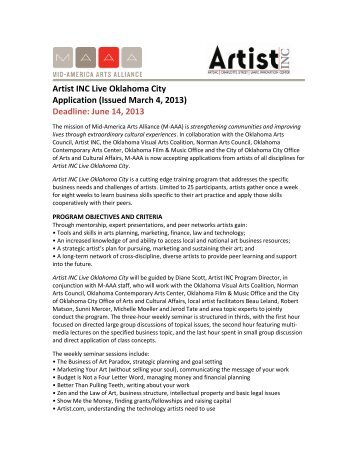 Artist INC Live Oklahoma City Application (Issued March 4, 2013 ...