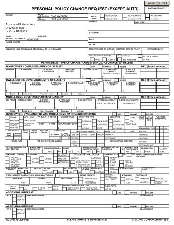 AVIATION POLICY CHANGE REQUEST - ACORD Forms
