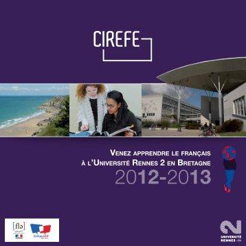 Consulter la brochure du CIREFE - Université Rennes 2