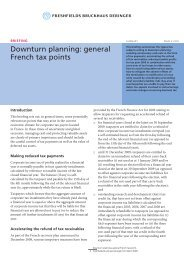 Downturn planning: general French tax points - Freshfields