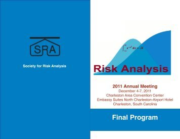 Final Program - Society for Risk Analysis