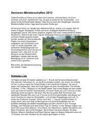 Vollständiger Bericht Seniorenmeisterschaft 2013
