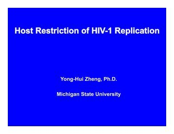Host Restriction of HIV-1 Replication