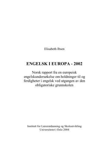 Engelsk i Europa - 2002 - Det utdanningsvitenskapelige fakultet ...