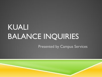 Balance Inquiry - Business and Financial Services