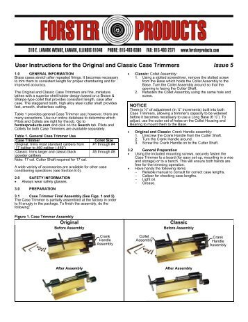 Original Classic Case Trimmers Instructions Forster Products