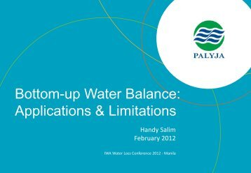 Bottom-up Water Balance: Applications ... - Iwa-waterloss.org