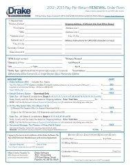 2012 - 201 3 Pay-Per-Return RENEWAL Order Form - Drake Software