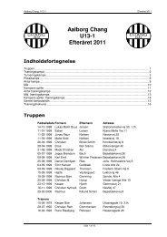 Aalborg Chang U13-1 Efteråret 2011 Indholdsfortegnelse - KlubCMS