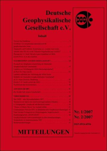 Deutsche Geophysikalische Gesellschaft e.V. MITTEILUNGEN ...