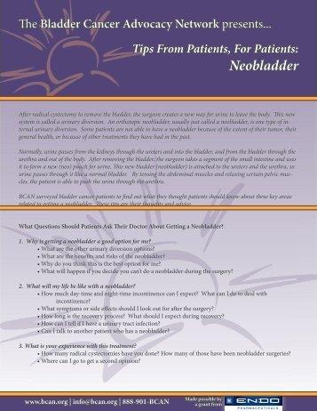 Neobladder - Bladder Cancer Advocacy Network