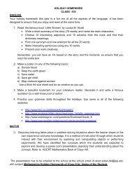 HOLIDAY HOMEWORK CLASS –VIII ENGLISH Your holiday ...