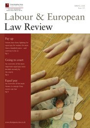 Labour & European Law Review - Thompsons Solicitors