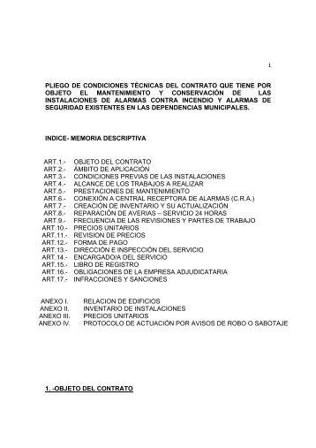 Pliego de Condiciones Técnicas 13/12/2012 (PDF 153Kb)