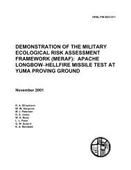 Demonstration of the Military Ecological Risk Assessment ...