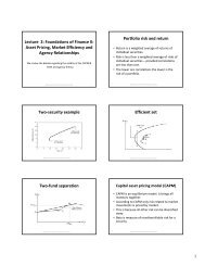 Asset Pricing, Market Efficiency and Agency Relationships Portfolio ...