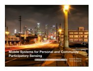 Mobile Systems for Personal and Community Participatory Sensing