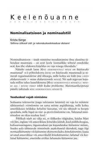 Nominalisatsioon ja nominaalstiil - Emakeele Selts